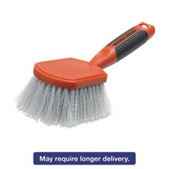 "Short Utility Brush, Plastic, 4 1/2"" Brush, 2"" Bristles, Orange/Gray, 2/Carton"