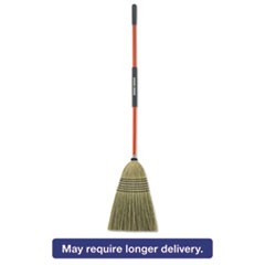 "Large Corn Broom, Corn Bristles, 16 1/2"" Bristles, 55 1/2"", Orange/Black"