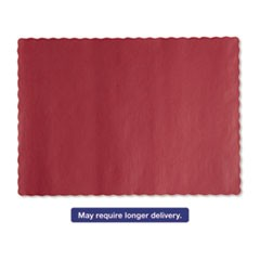 Solid Color Scalloped Edge Placemats, 9 1/2 x 13 1/2, Red, 1000/Carton