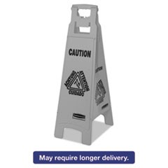 Executive 4-Sided Multi-Lingual Caution Sign, Gray, 11 9/10 x 38, 6/Carton