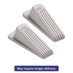 Big Foot Doorstop, No Slip Rubber Wedge, 5w x 7 1/2d x 1 1/2h, Beige, 2/Pack