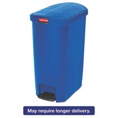Slim Jim Resin Step-On Container, End Step Style, 13 gal, Blue