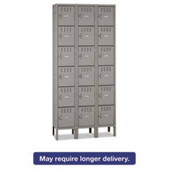 Box Compartments with Legs, Triple Stack, 36w x 18d x 78h, Medium Gray