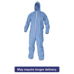 A60 Elastic-Cuff & Back Hooded Coveralls, Blue, 2X-Large, 24/Case