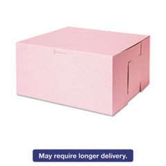 Tuck-Top Bakery Boxes, 10w x 10d x 5h, Pink, 100/Carton