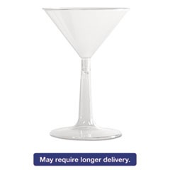 Comet Plastic Martini Glasses, 6 oz., Clear, Two-Piece Construction, 12/Pack