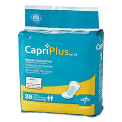 "Capri Plus Bladder Control Pads, Extra Plus, 6.5"" x 13.5"", 28/Pack, 6/Carton"