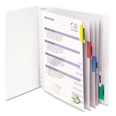 "Sheet Protectors with Index Tabs, Assorted Color Tabs, 2"", 11 x 8 1/2, 5/ST"