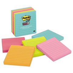Post-It  Notes Super Stickypads In Miami Colors, Lined, 4 X 4, 90/Pad, 6 Pads/Pack