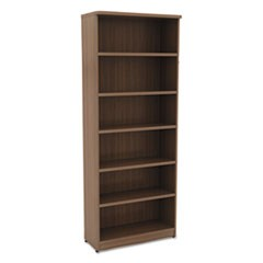Alera Valencia Series Bookcase, Six-Shelf, 31 3/4w x 14d x 80 3/8h, Mod Walnut