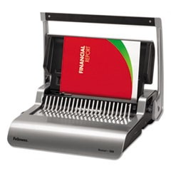 Quasar 500 Manual Comb Binding System, 18 1/8 x 15 3/8 x 5 1/8, Metallic Gray