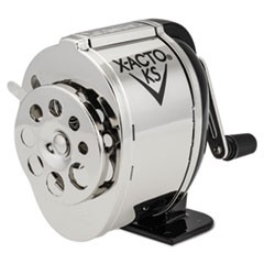 KS Manual Classroom Pencil Sharpener, Counter/Wall-Mount, Black/Nickel-plated