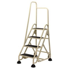 "Stop-Step Ladder, 66.25"" Working Height, 300 lbs Capacity, 4 Step, Beige"