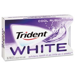 Trident White Sugarless Gum, Cool Rush Flavor, 16-Pieces/Pack, 9 Packs/Box