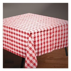"Tissue/Poly Tablecovers, 54"" x 108"", Red/White Gingham"