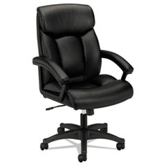 HVL151 Executive High-Back Leather Chair, Supports up to 250 lbs., Black Seat/Black Back, Black Base