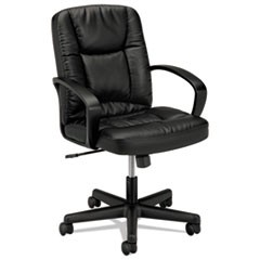 HVL171 Executive Mid-Back Leather Chair, Supports up to 250 lbs., Black Seat/Black Back, Black Base