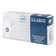 Embossed Polyethylene Disposable Gloves, X-Large, Powder-Free, Clear