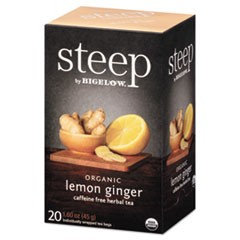 steep Tea, Lemon Ginger, 1.6 oz Tea Bag, 20/Box
