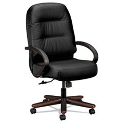 Pillow-Soft 2090 Series Executive High-Back Swivel/Tilt Chair, Supports up to 250 lbs., Black Seat/Black Back, Black Base