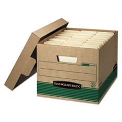 Bankers Box Stor/File Medium-Duty 100% Recycled Storage Boxes, Letter/Legal Files, 12.5  X 16.25  X 10.25 , Kraft/Green, 12/Carton