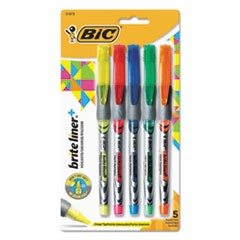 Brite Liner + Highlighter, Chisel Tip, Assorted Colors, 5/Set