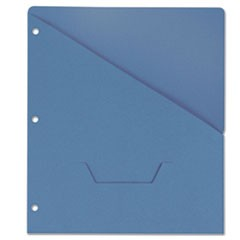 Slash-Cut Pockets for Three-Ring Binders, Jacket, Letter, 11 Pt., Blue, 10/Pack