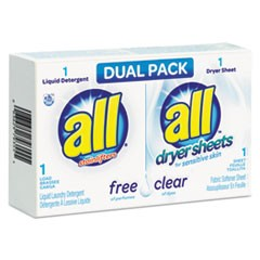 Free Clear HE Liquid Laundry Detergent/Dryer Sheet Dual Vend Pack, 100/Ctn