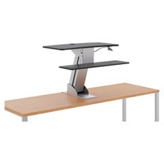 Directional Desktop Sit-to-Stand Riser without Monitor Arm, Silver/Black