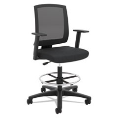 VL515 Mid-Back Mesh Task Stool with Fixed Arms, Supports up to 250 lbs., Black Seat/Black Back, Black Base