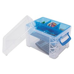 Super Stacker Divided Storage Box, Clear w/Blue Tray/Handles, 7 1/2 x 10.12x6.5