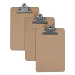 "Hardboard Clipboard, 3/4"" Capacity, 5 x 8 Sheets, Brown, 3/Pack"
