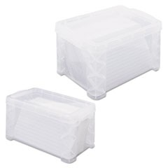 Super Stacker Storage Boxes, Hold 400 3 x 5 Cards, Plastic, Clear