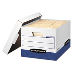 Bankers Box R-Kive Heavy-Duty Storage Boxes, Letter/Legal Files, 12.75  X 16.5  X 10.38 , White/Blue, 12/Carton