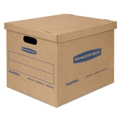 "SmoothMove Classic Moving & Storage Boxes, Medium, Half Slotted Container (HSC), 18"" x 15"" x 14"", Brown Kraft/Blue, 8/Carton"
