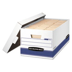 Bankers Box Stor/File Medium-Duty Storage Boxes, Letter Files, 12.88  X 25.38  X 10.25 , White/Blue, 12/Carton