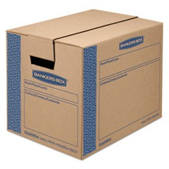 "SmoothMove Prime Moving & Storage Boxes, Small, Regular Slotted Container (RSC), 16"" x 12"" x 12"", Brown Kraft/Blue, 10/Carton"