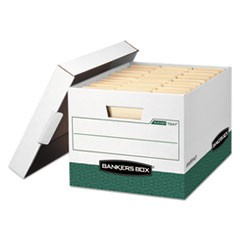Bankers Box R-Kive Heavy-Duty Storage Boxes, Letter/Legal Files, 12.75  X 16.5  X 10.38 , White/Green, 12/Carton