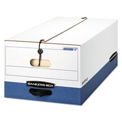 Bankers Box Liberty Heavy-Duty Strength Storage Boxes, Legal Files, 15.25  X 24.13  X 10.75 , White/Blue, 4/Carton