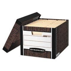 Bankers Box R-Kive Heavy-Duty Storage Boxes, Letter/Legal Files, 12.75  X 16.5  X 10.38 , Woodgrain, 12/Carton