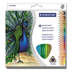 Triangular Colored Pencil Set, H/#3, 2.9mm, 48 Assorted Colors