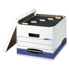 Bankers Box Hang'N'Stor Medium-Duty Storage Boxes, Letter/Legal Files, 13  X 16  X 10.5 , White/Blue, 4/Carton