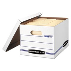 "STOR/FILE Basic-Duty Storage Boxes, Letter/Legal Files, 12.5"" x 16.25"" x 10.5"", White/Blue, 12/Carton"