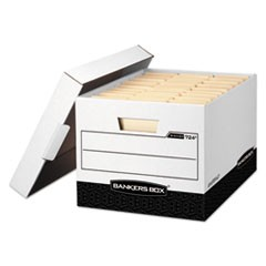 Bankers Box R-Kive Heavy-Duty Storage Boxes, Letter/Legal Files, 12.75  X 16.5  X 10.38 , White/Black, 12/Carton