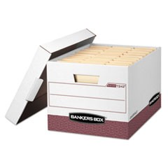 Bankers Box R-Kive Heavy-Duty Storage Boxes, Letter/Legal Files, 12.75  X 16.5  X 10.38 , White/Red, 12/Carton