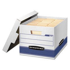 Bankers Box Stor/File Medium-Duty Letter/Legal Storage Boxes, Letter/Legal Files, 12.75  X 16.5  X 10.5 , White/Blue, 12/Carton