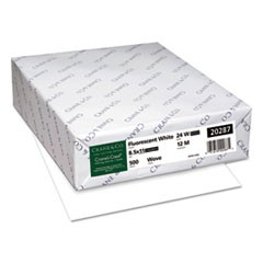 CRANE'S CREST 100% Cotton Paper, 98 Bright, 24 lb, 8.5 x 11, White, 500/Ream
