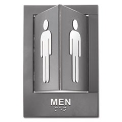 Pop-Out ADA Sign, Men, Tactile Symbol/Braille, Plastic, 6 x 9, Gray/White