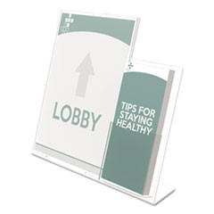 Superior Image Slanted Sign Holder with Side Pocket, 13.5w x 4.25d x 10.88h, Clear