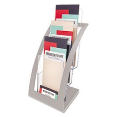 3-Tier Literature Holder, Leaflet Size, 6 3/4 x 6 15/16 x 13 4/16, Silver